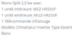 Climatiseur Mural Mitsubishi MSZ-HR25VF