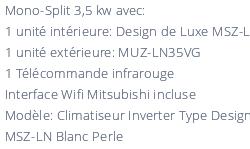 Climatisation Prêt à Poser Mitsubishi Msz Ln35vgv